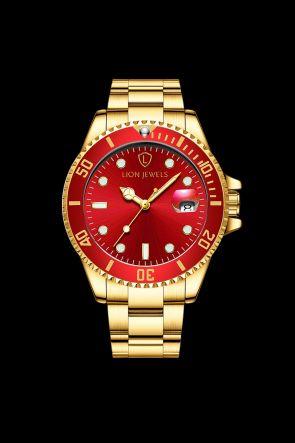Palermo Gold/Red Steel Watch