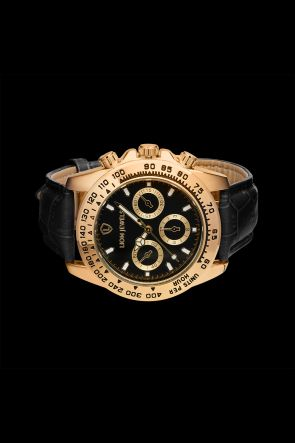 Napoli Gold Black Leather Watch