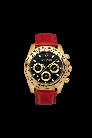 Napoli Gold Red Leather Watch