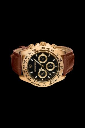 Napoli Gold Dark Brown Leather Watch