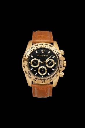 Napoli Gold Light Brown Leather Watch