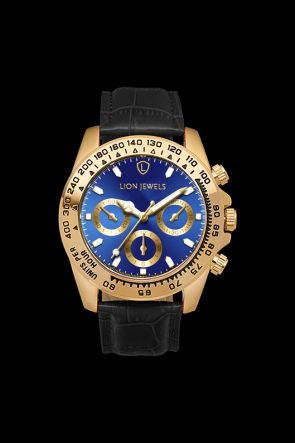 Napoli Gold/Blue Black Leather Watch