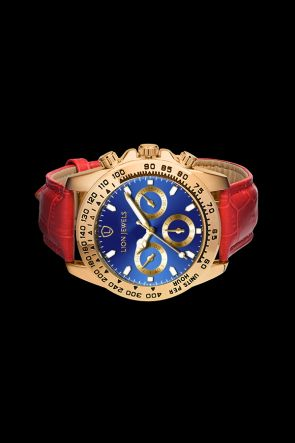 Napoli Gold/Blue Red Leather Watch