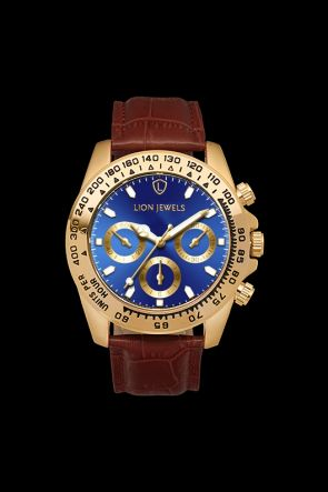 Napoli Gold/Blue Dark Brown Leather Watch