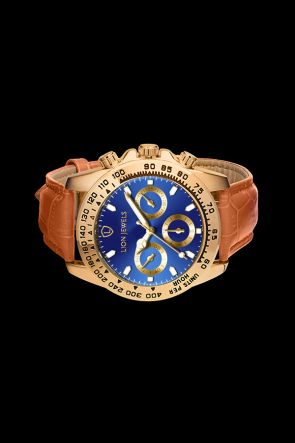Napoli Gold/Blue Light Brown Leather Watch